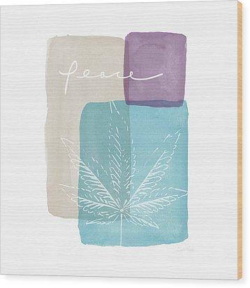 Peace Cannabis Leaf Watercolor- Art By Linda Woods Wood Print by Linda Woods