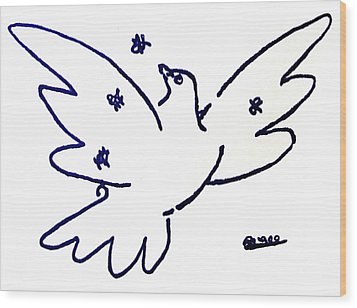Wood Print featuring the painting Peace Dove Serigraph In Blue As A Tribute To Pablo Picasso's Lithograph Of Love Bird With Flowers by M Zimmerman