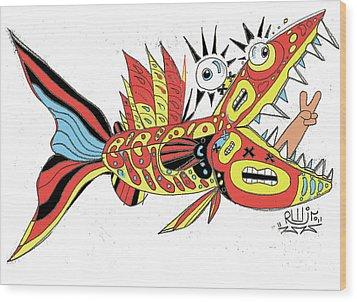 Peace Funky Folk Fish Wood Print by Robert Wolverton Jr