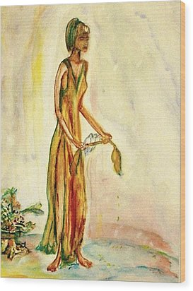 Wood Print featuring the painting Peace by Helena Bebirian