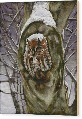Peace In The Storm - Eastern Screech Owl Wood Print by Susan Donley