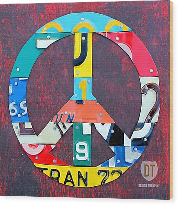 Peace License Plate Art Wood Print by Design Turnpike
