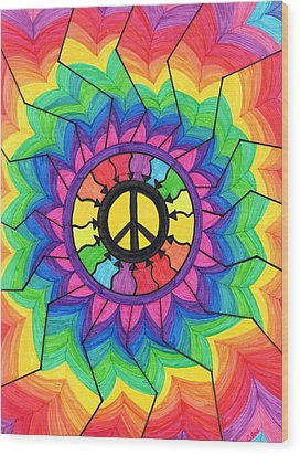 Peace Mandala Wood Print by Cheryl Fox