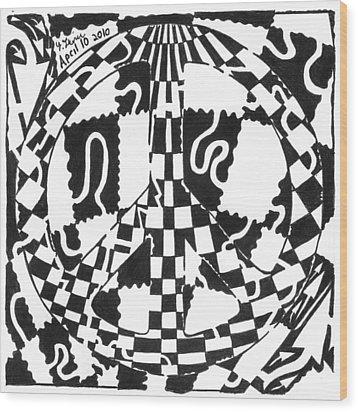 Peace Maze Wood Print by Yonatan Frimer Maze Artist