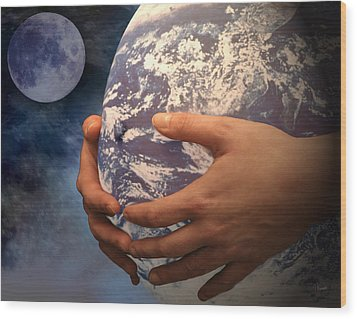 Peace On Earth Gaia Wood Print by Tom Romeo