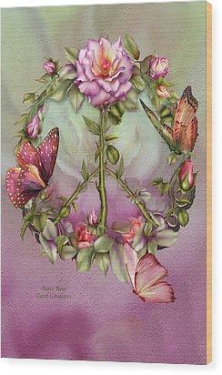 Peace Rose Wood Print by Carol Cavalaris