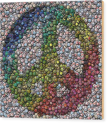 Wood Print featuring the digital art Peace Sign Bottle Cap Mosaic by Paul Van Scott