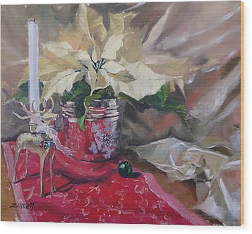 Wood Print featuring the painting Peace To All Three by Laura Lee Zanghetti