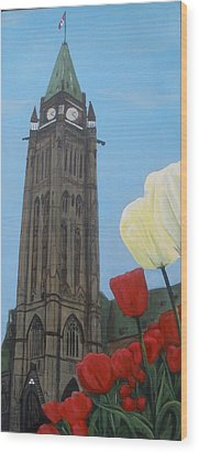 Wood Print featuring the painting Peace Tower by Betty-Anne McDonald