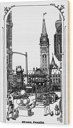 Peace Tower Parliament Hill Ottawa 1995 Wood Print by John Cullen