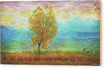 Peace Tree Sunset Wood Print