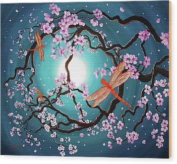 Peace Tree With Orange Dragonflies Wood Print