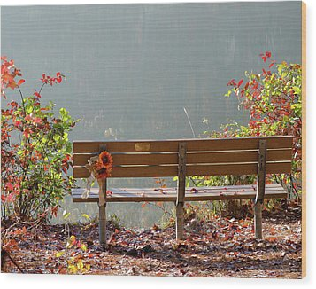 Peaceful Bench Wood Print by George Randy Bass