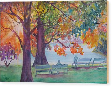 Wood Print featuring the painting Peaceful Chat by AnnE Dentler