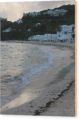 Wood Print featuring the photograph Peaceful Evening On Dawn Beach by Margaret Bobb