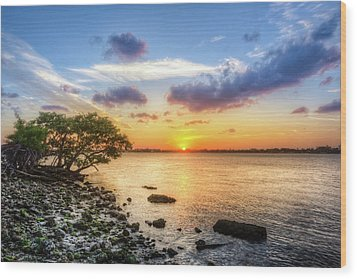 Wood Print featuring the photograph Peaceful Evening On The Waterway by Debra and Dave Vanderlaan