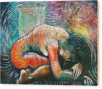 Peaceful Flow - Reclining Nude Wood Print by Gideon Cohn