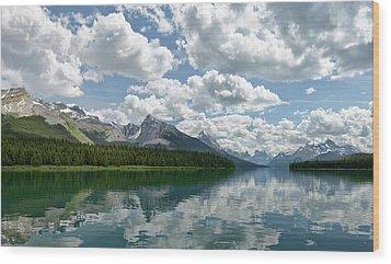 Peaceful Maligne Lake Wood Print by Sebastien Coursol