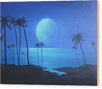 Peaceful Moonlit Night Wood Print by Michael Odom