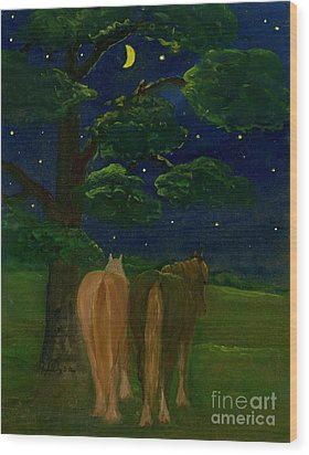 Peaceful Night Wood Print by Anna Folkartanna Maciejewska-Dyba