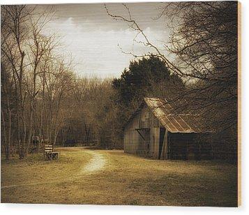 Peaceful Old Barn Wood Print by Iris Greenwell