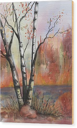 Peaceful River Wood Print by Annette Berglund