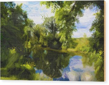 Peaceful Stream Wood Print by Chamira Young