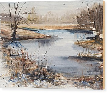 Peaceful Stream Wood Print by Judith Levins