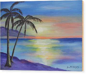 Peaceful Sunset Wood Print by Luis F Rodriguez