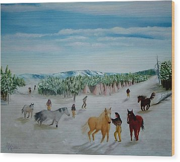 Peaceful Winter Wood Print by Mary Kaser