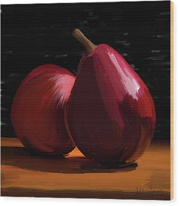 Peach And Pear 01 Wood Print by Wally Hampton