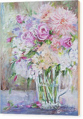 Wood Print featuring the painting Peach And Pink Bouquet by Jennifer Beaudet
