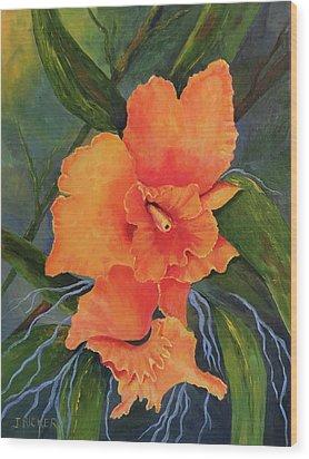 Peach  Blush Orchid Wood Print