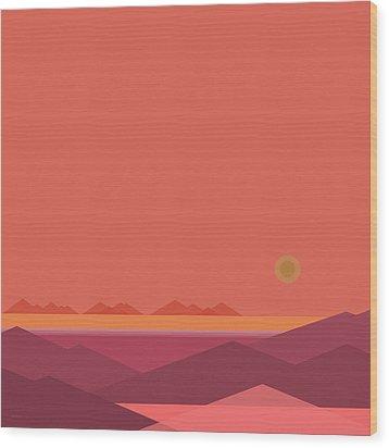 Wood Print featuring the digital art Peach Dawn by Val Arie