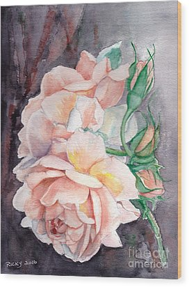 Peach Perfect - Painting Wood Print by Veronica Rickard