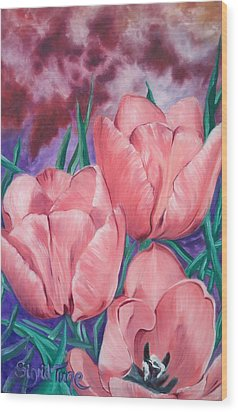 Wood Print featuring the painting Peach Pink Tulips by Sigrid Tune