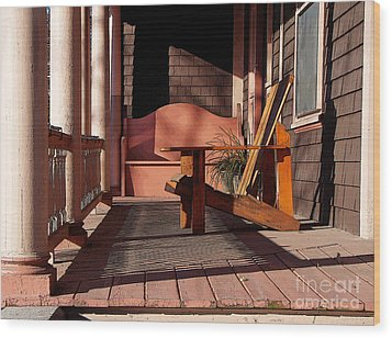 Peach Porch Wood Print by Betsy Zimmerli