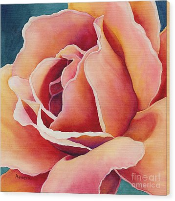 Wood Print featuring the painting Peach Rose by Hailey E Herrera