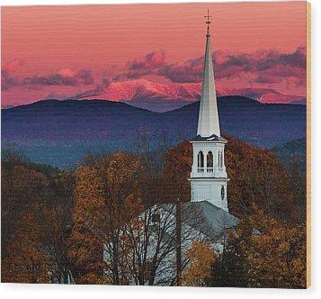 Peacham And White Mtn Sunset Wood Print