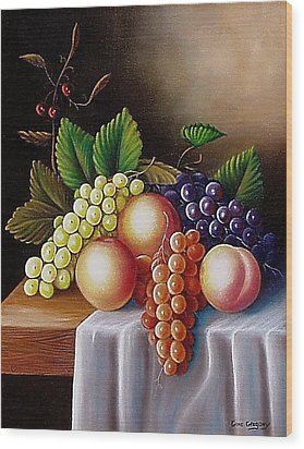 Wood Print featuring the painting Peaches And Grapes by Gene Gregory