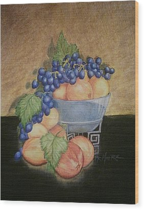 Peaches And Grapes Wood Print by Patricia R Moore