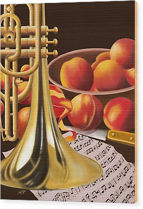 Peaches And Horn Wood Print by James  Mingo