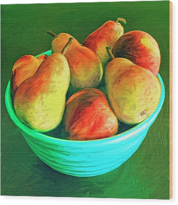 Peaches And Pears Wood Print by Dominic Piperata