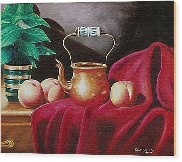 Wood Print featuring the painting Peaches And Pot by Gene Gregory