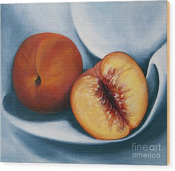 Peaches Wood Print by Dinny Madill