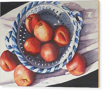 Peaches In Blue Wood Print by Marsha Chandler
