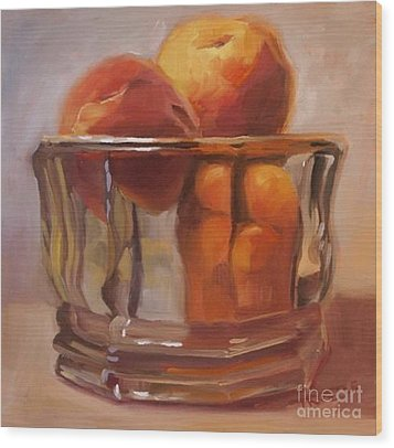 Peaches Print Wall Art Room Decor Wood Print by Patti Trostle