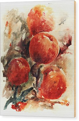 Peaches Wood Print by Rachel Christine Nowicki