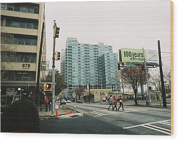 Peachtree And 7th St 2006 Winter Wood Print by Jake Hartz