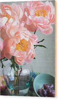 Peachy Peonies Wood Print